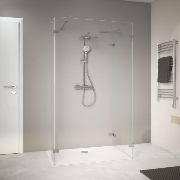 MK800 Zwei Duschwände mit festem Element, rahmenlos