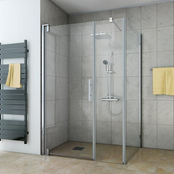 Drehtür mit Frontseitenwand für Seitenwand/ Badewannenseitenwand, Anschlag links