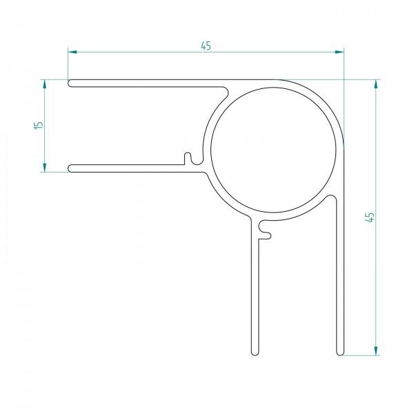Eckverbinderprofil, gerade, senkrecht, 2130 mm,