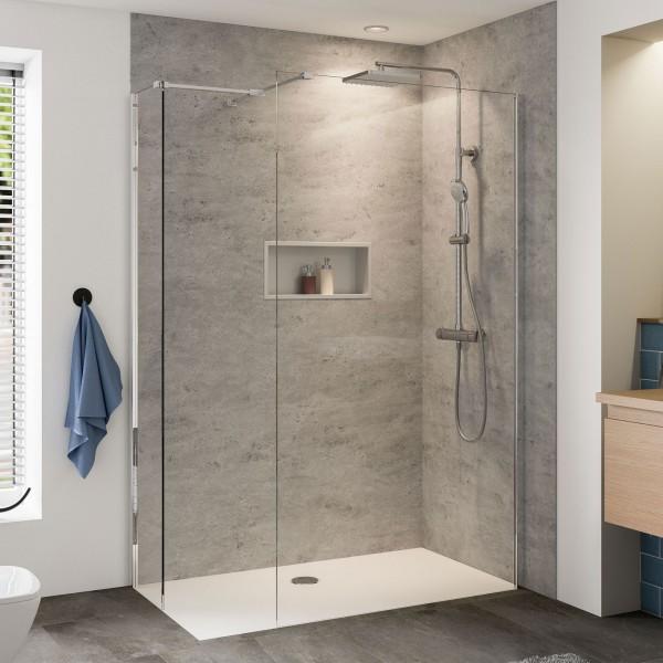 Baukasten Glaselement alleinstehende Duschwand mit zusätzlicher Seitenwand, für Unter-Putz-Montage