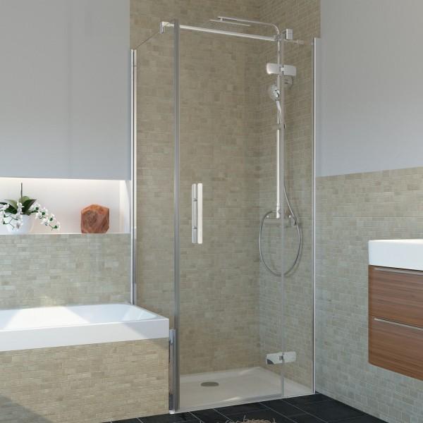 Drehtür für Seitenwand/ Badewannenseitenwand, teilgerahmt, Anschlag rechts