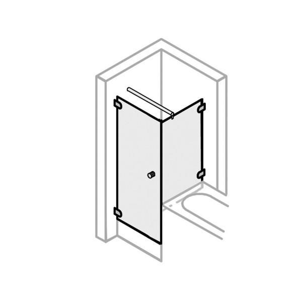 Drehtür mit Badewannenseitenwand rechts, Türöffnung nach innen & außen