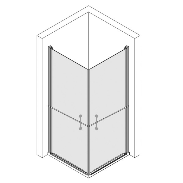 Eckeinstieg Drehtür 2-teilig, horizontal geteilt