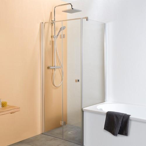 Badewannenseitenwand für Drehtür mit Festteil
