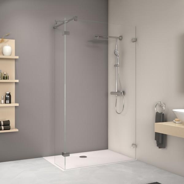 MK800 Duschwand mit festem Eckelement, rahmenlos