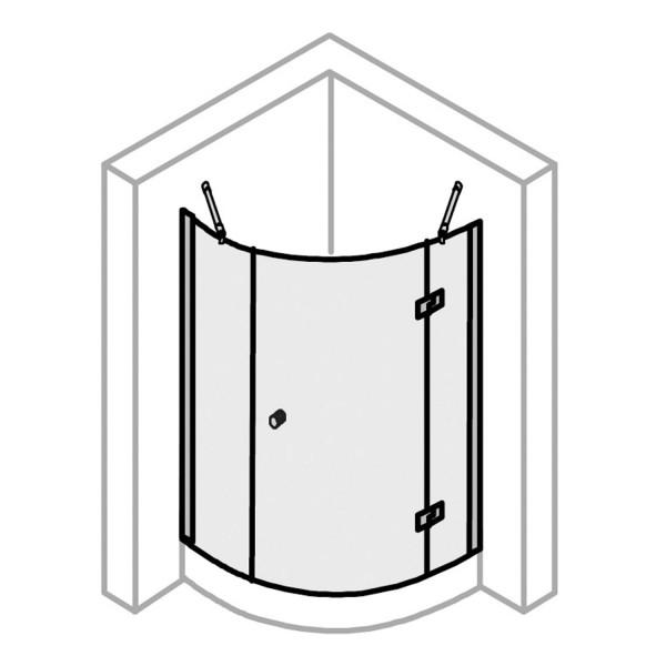 Runddusche Drehtür 3-teilig, Radius 550 Anschlag rechts