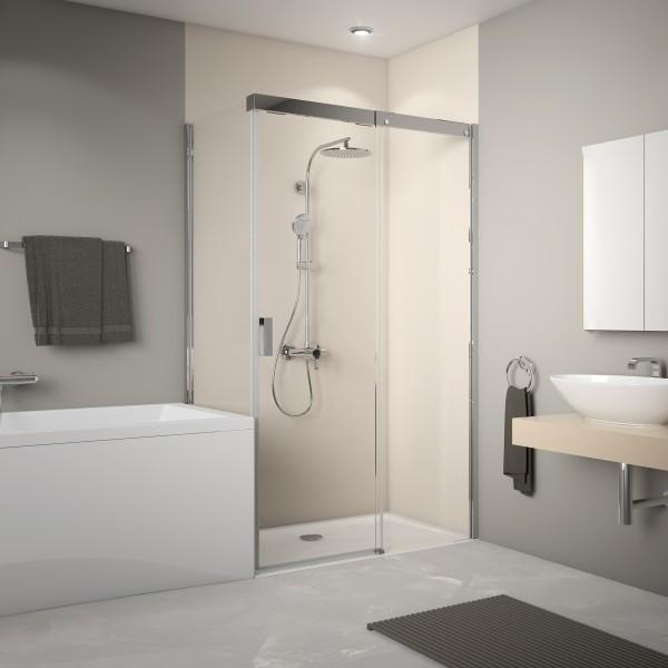 Schiebetür Soft+Silent für Badewannenseintenwand, Anschlag rechts