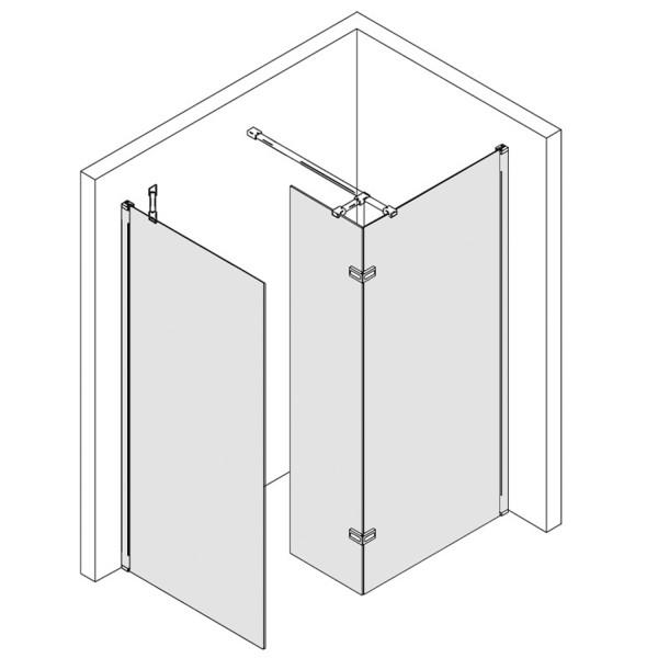 Walk In - Seitenwand mit festem Element über Eck + Seitenwand, teilgerahmt