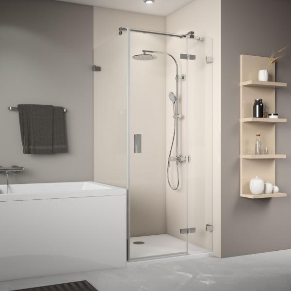 MK800 Badewannenseitenwand links für Drehtür, rahmenlos, Wandwinkel innen