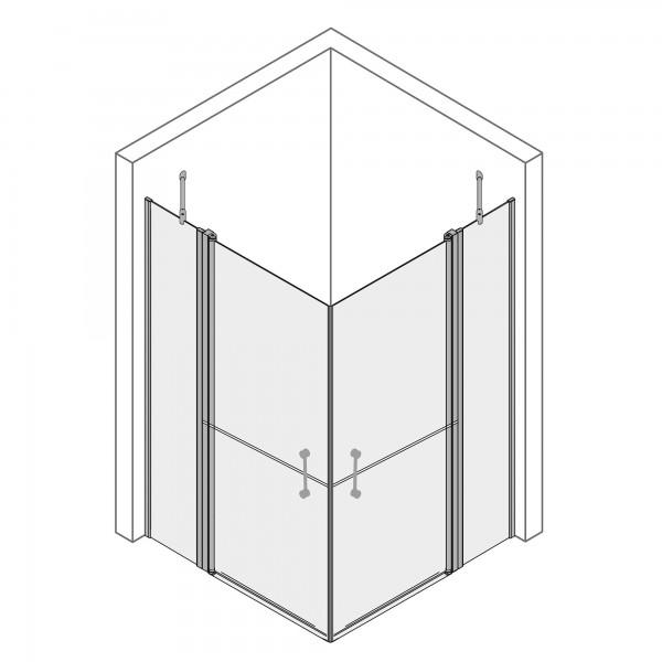 MK 500: Eckeinstieg Drehtür 4-teilig, horizontal geteilt