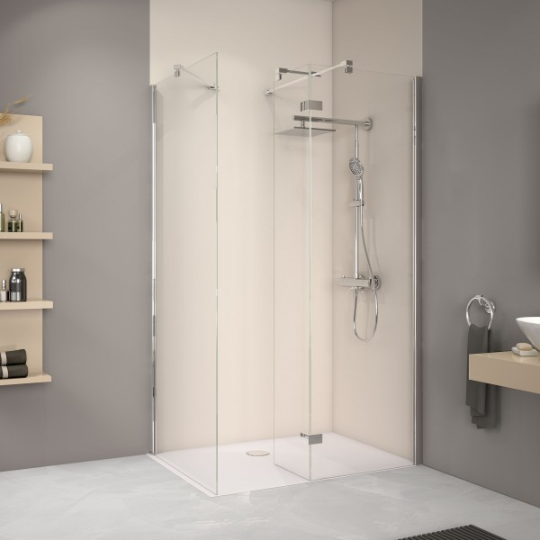 Duschwand mit festem Element über Eck und Seitenwand