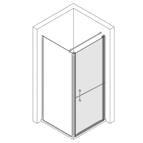 Drehtür horizontal geteilt für Seitenwand, Anschlag rechts