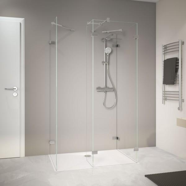 MK 800 Zwei Duschwände mit festem Element über Eck und Seitenwand