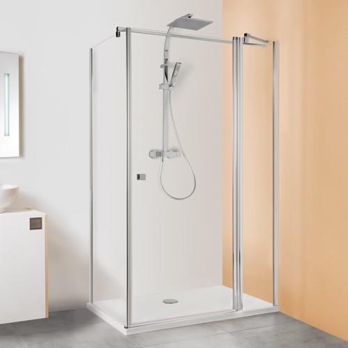 Drehtür mit Festteil für Seitenwand und Badewannenseitenwand