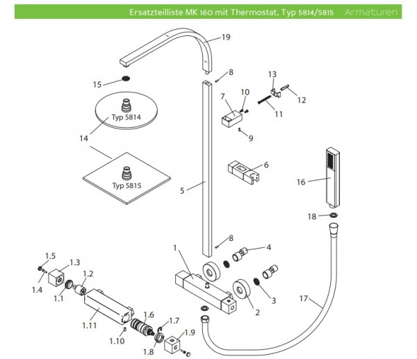 Ersatzteil Duschpaneel Thermostatkartusche inkl. Verbrühschutz