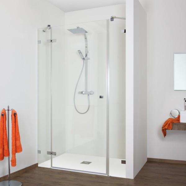 Duschkabine - Drehtür Nische mit 2 Frontseitenwänden, rahmenlos, Anschlag links