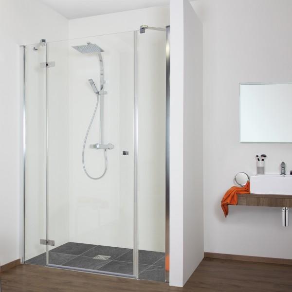Duschkabine - Drehtür Nische mit 2 Frontseitenwänden, teilgerahmt, Anschlag links