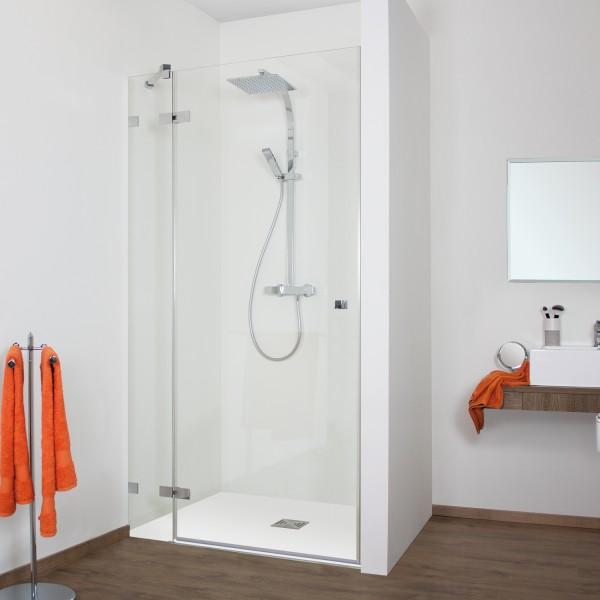 Duschkabine - Drehtür Nische mit Frontseitenwand links, rahmenlos