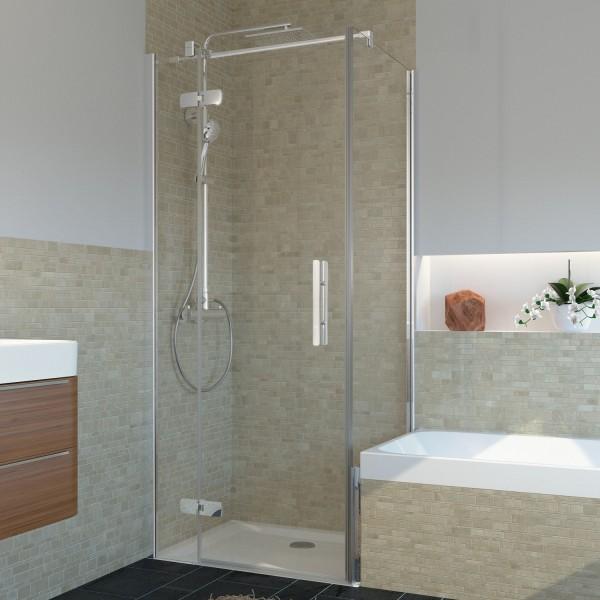 Badewannenseitenwand für Drehtür, teilgerahmt