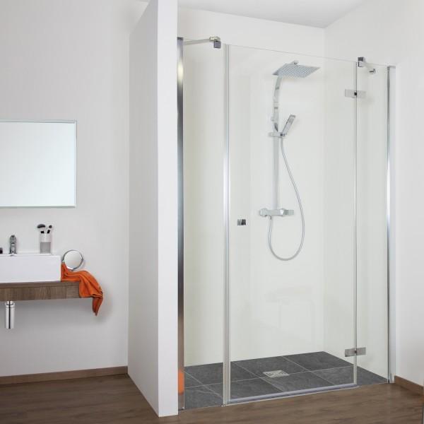 Duschkabine - Drehtür Nische mit 2 Frontseitenwänden, teilgerahmt, Anschlag rechts