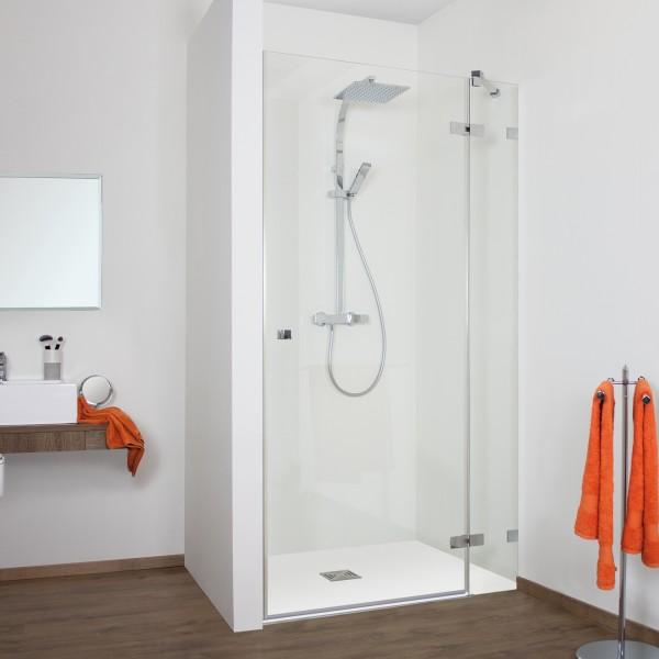 Duschkabine - Drehtür Nische mit Frontseitenwand rechts, rahmenlos
