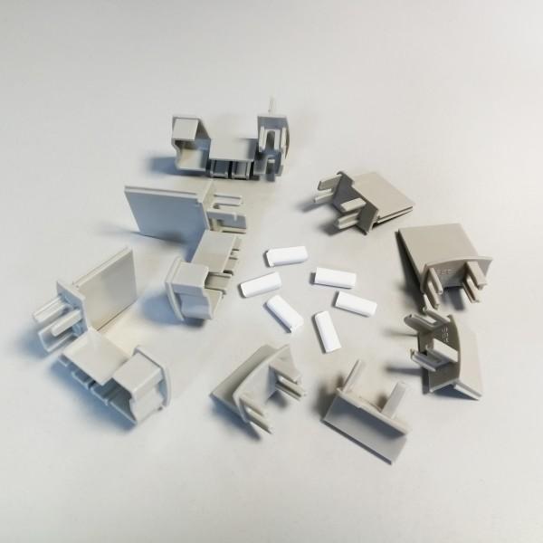 Abdeckkappen-Set grau, für Schiebetür mit Seitenwand