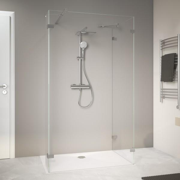 MK800 Walk-In: Duschwände mit Eckelement, rahmenlos, Wandwinkel außen