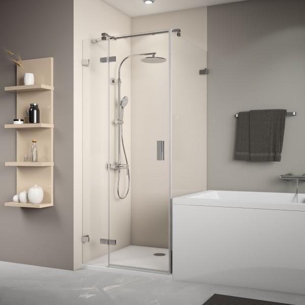 Badewannenseitenwand rechts für Drehtür, rahmenlos, Wandwinkel innen