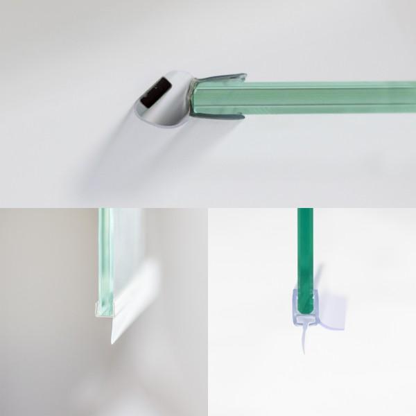 Dichtungsset komplett für 6 mm, Drehfalttür Nische