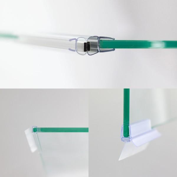 Dichtungssatz für 8 mm, Drehtür mit Festteil für Nische